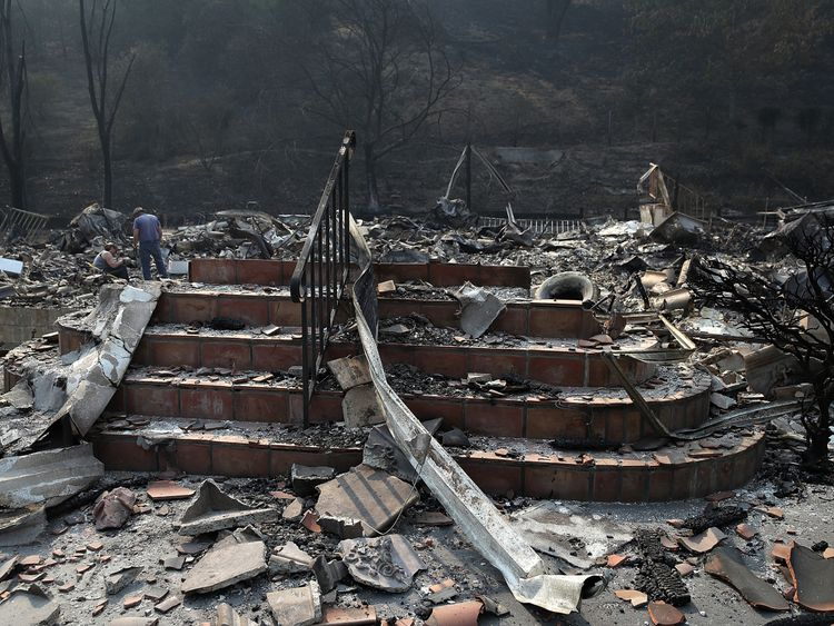 Stairs remain at a home that was destroyed by the Atlas Fire on October 13, 2017 in Napa, California