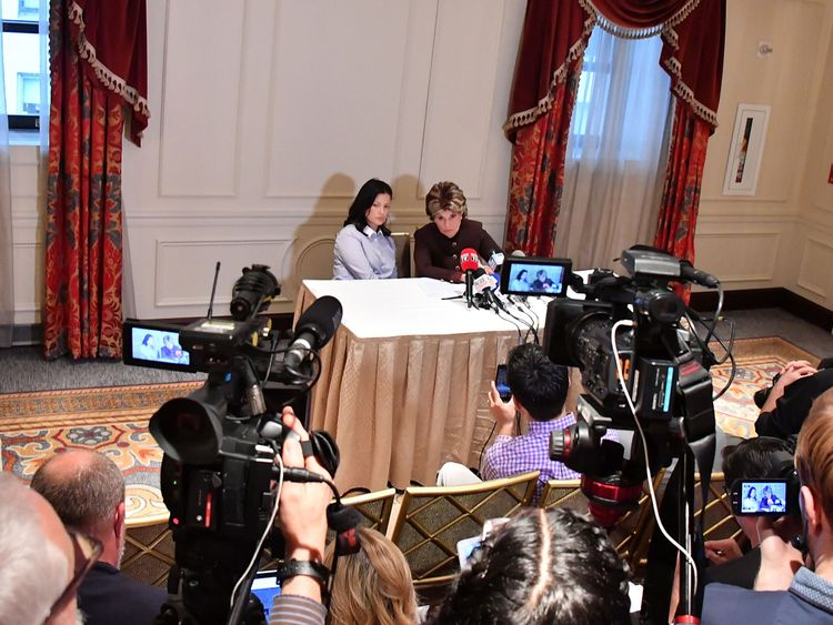 New alleged victim of Harvey Weinstein, Natassia Malthe (L) and Attorney Gloria Allred speak during a press conference held at Lotte New York Palace at Lotte New York Palace on October 25, 2017