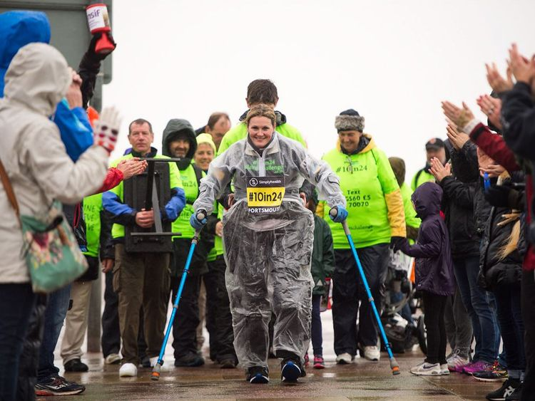 Claire Lomas completed 10 mile challenge with the help of a robotic suit and crutches