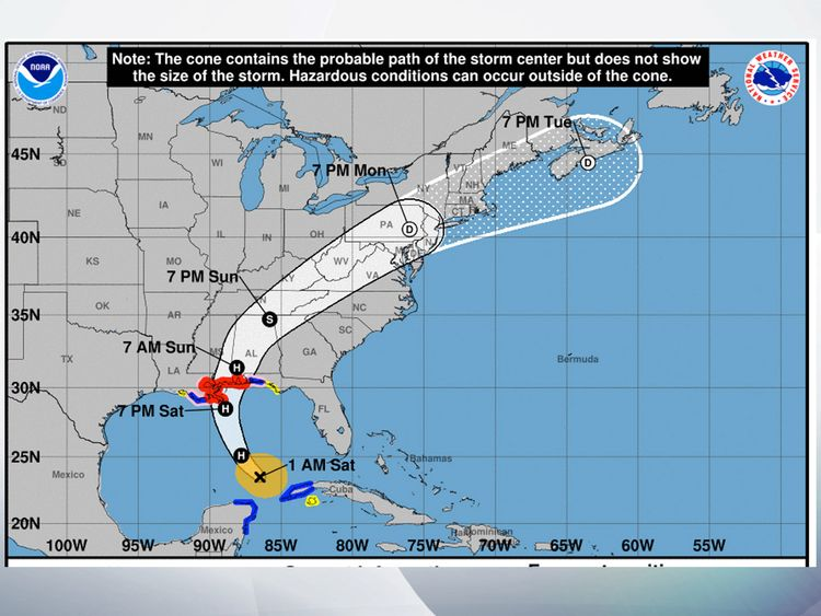 The predicted path Hurricane Nate is expected to take. Pic: NOAA
