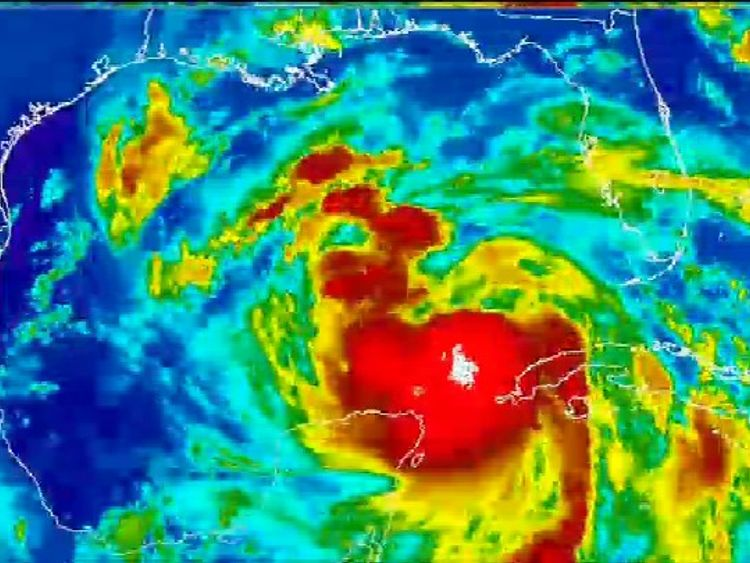 A weather map showing Hurricane Nate heading towards the US Gulf Coast