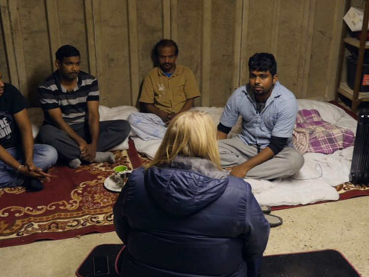 The men live in a garage and do not mix with the local community for fear of being reported