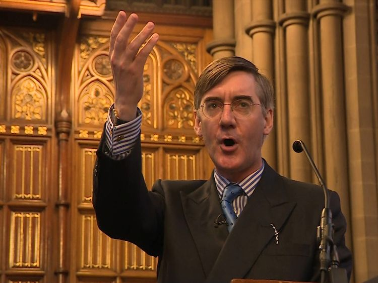An event featuring Conservative MP Jacob Rees-Mogg, who was heckled by protesters