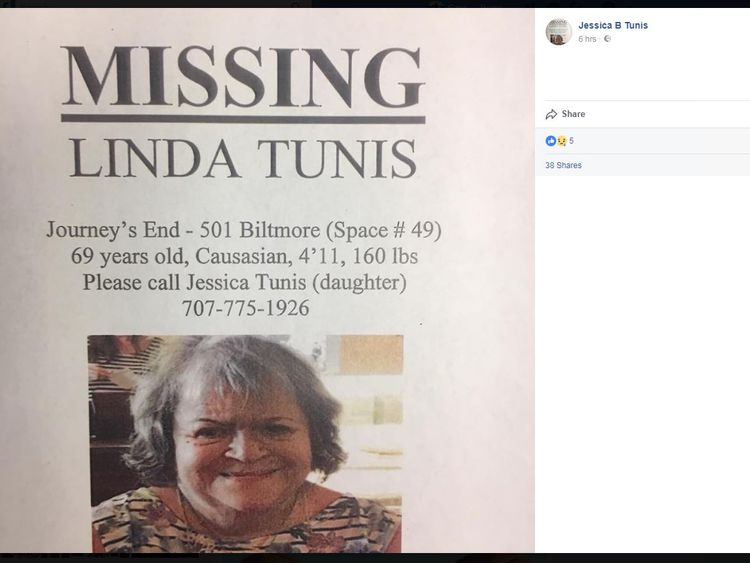 Jessica Tunis posted a Facebook appeal for her missing mother