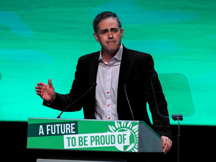 Green Party co-leader Jonathan Bartley speaks at the Green Party Spring Conference at the ACC in Liverpool.