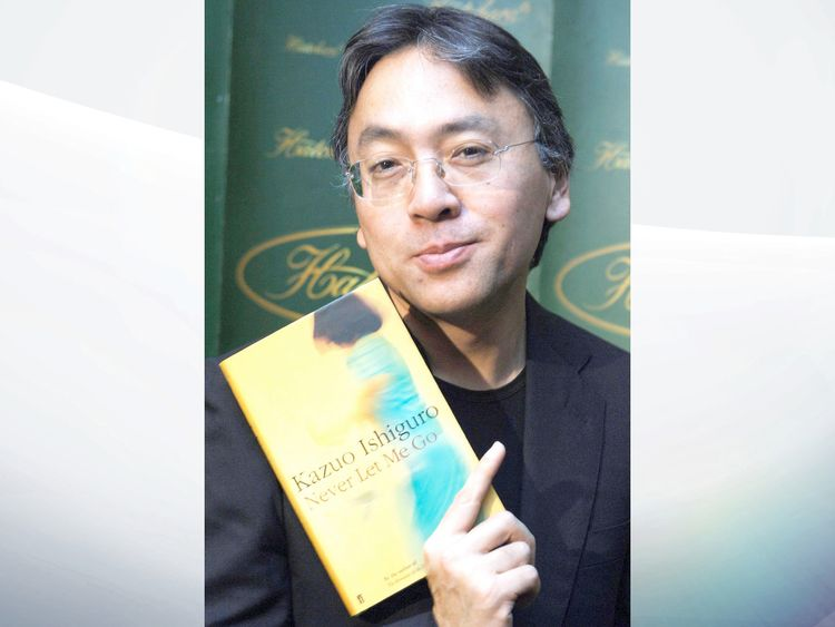 Kazuo Ishiguro with his novel Never Let Me Go