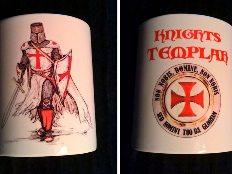 One of the Knights Templar crusader mugs at the centre of the row