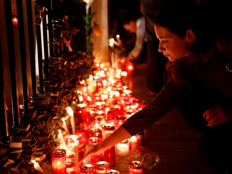 A candlelight vigil to protest against the assassination of investigative journalist Daphne Caruana Galizia in a car bomb attack, in St Julian's, Malta