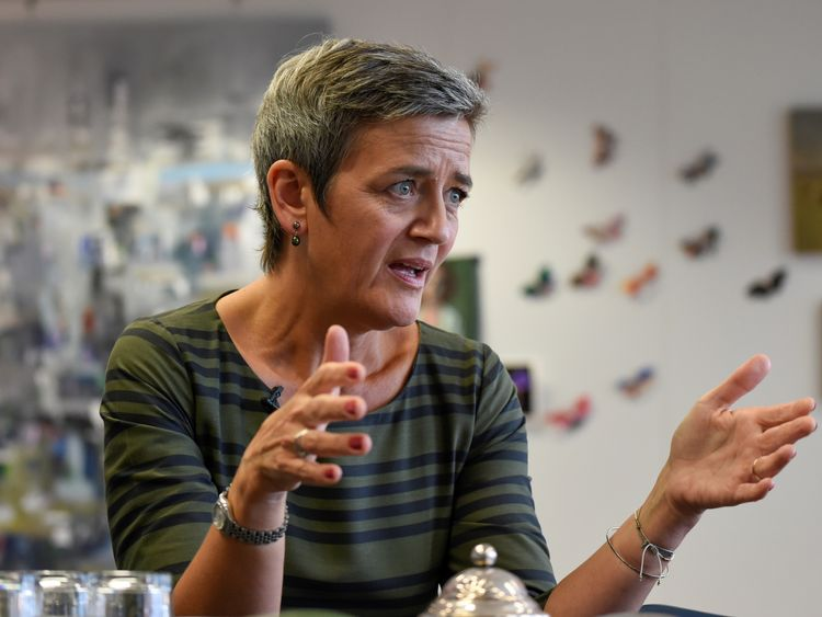 EU Commissioner of Competition Margrethe Vestager giveS an interview at the EU Headquarters in Brussels, on September 4, 2017. / AFP PHOTO / JOHN THYS (Photo credit should read JOHN THYS/AFP/Getty Images)