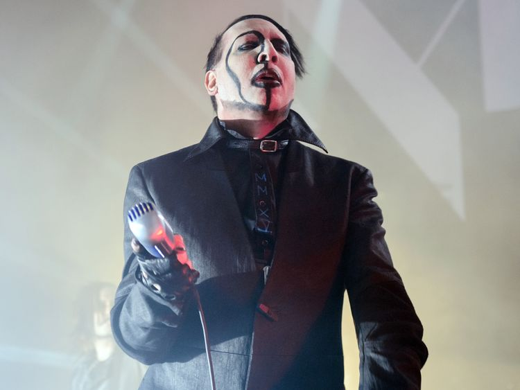 Manson performs on stage earlier this year
