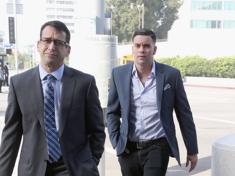 Mark Salling arrives for a court appearance in Los Angeles in June
