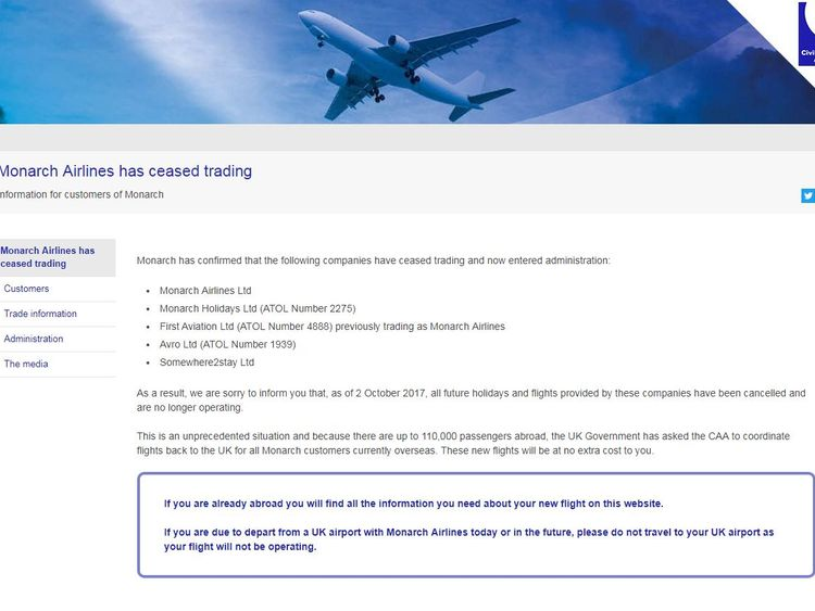 Monarch's website redirects to a CAA page warning customers of the airline's collapse