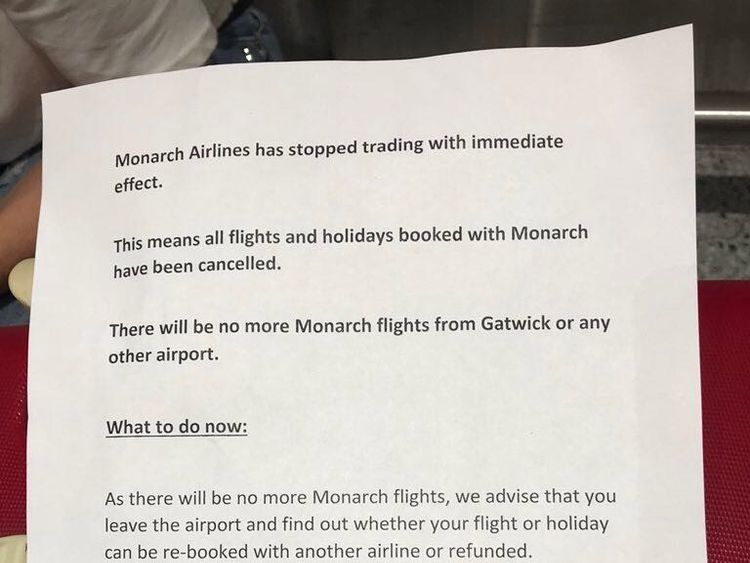 Letter handed to passengers at Gatwick after the collapse of Monarch