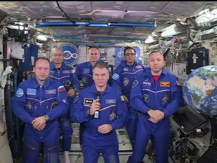 Six astronauts speak to Pope Francis including Italian for the second time.