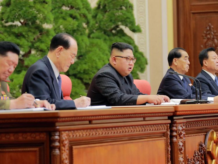Kim Jong Un speaks to party officials in Pyongyang