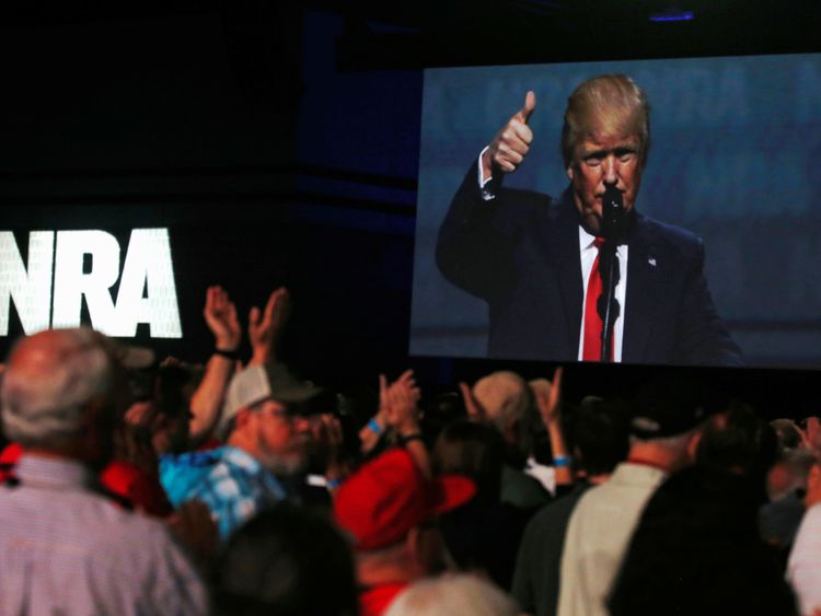 Donald Trump delivers remarks at the National Rifle Association (NRA) Leadership Forum at the Georgia World Congress Center in Atlanta, Georgia, U.S. April 28, 2017