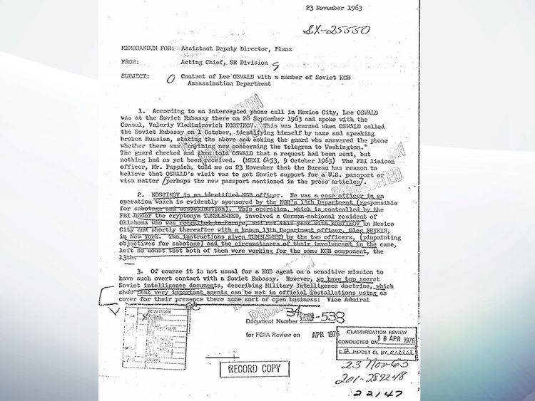 Federal Bureau of Investigation says all JFK assassination files cleared for release