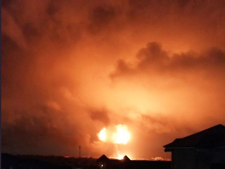 An explosion is seen after a natural gas station exploded in Ghana's capital Accra