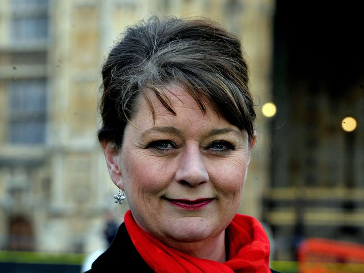 Plaid Cymru leader Leanne Wood outside Parliament following Chancellor of the Exchequer George Osborne's Budget.