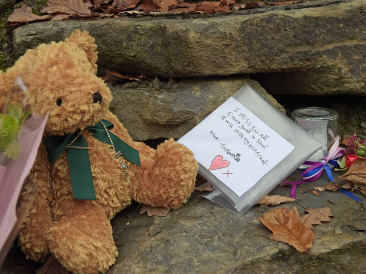 Tributes left close to the scene