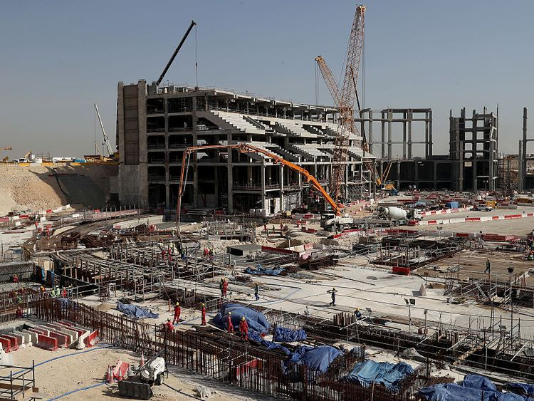 The construction site at the Al Bayt Stadium