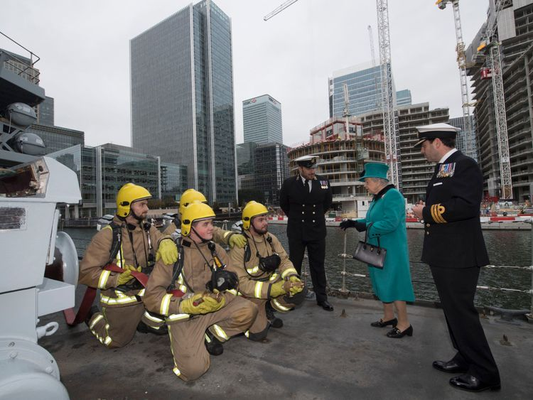 Queen meets firefighters who helped in Hurrican Irma rescues from onboard HMS Sutherland