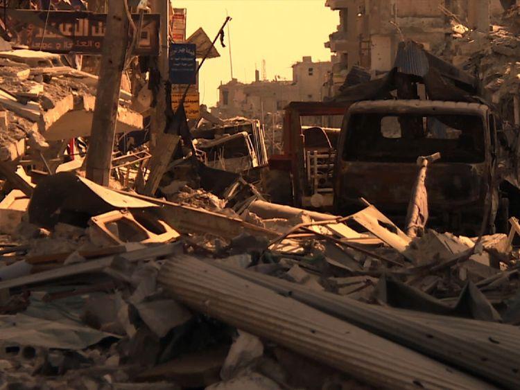 The rubble-strewn streets are silent