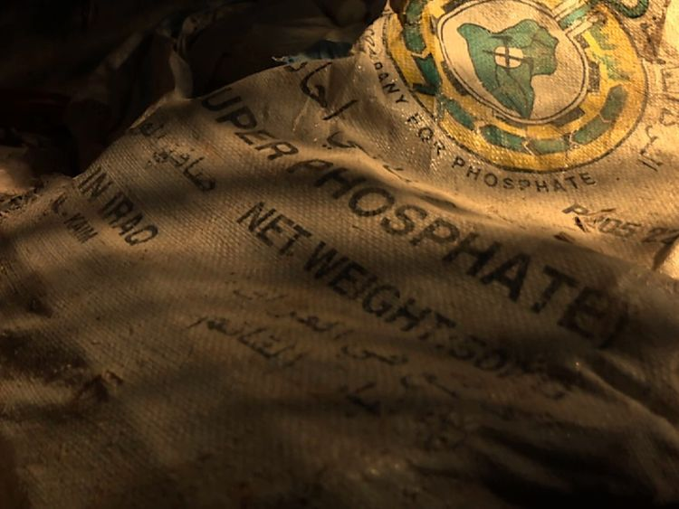 Bags of phosphate to make bombs were found in the ruins