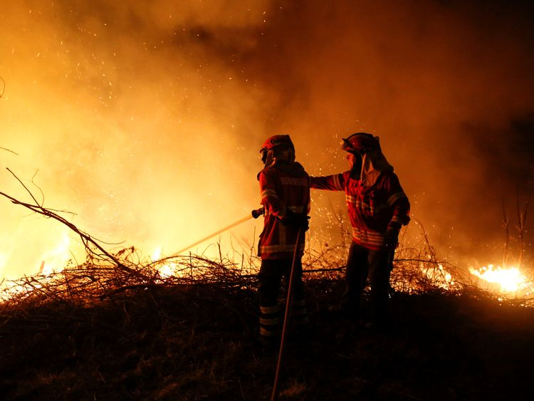 Firefighters try to extinguish flames from a forest fire in Cabanoes near Lousa, Portugal, October 16, 2017