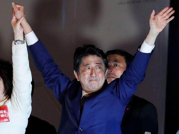 Shinzo Abe at an election rally in Tokyo