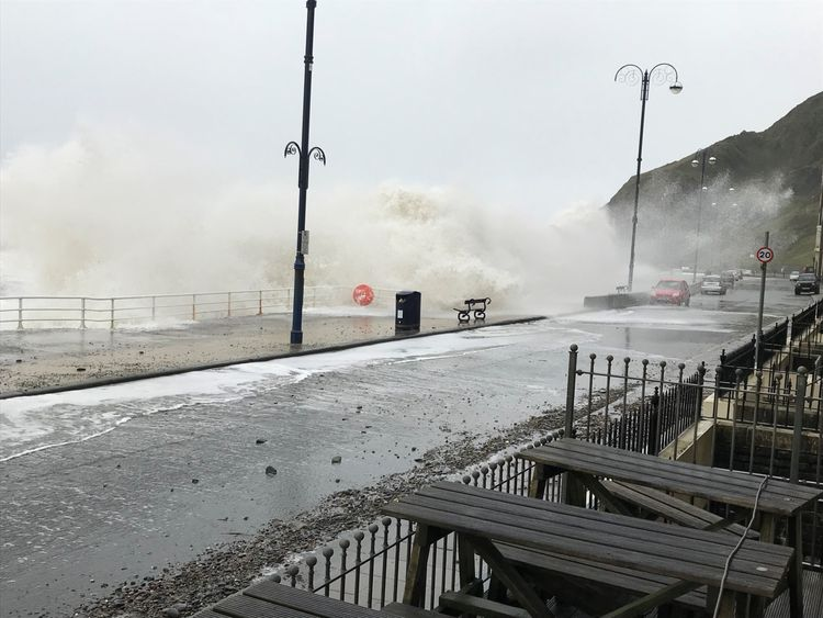 Storm Brian hits Aberystwyth, Wales.