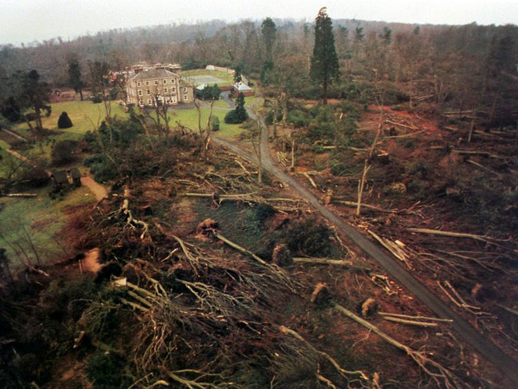 Emmetts House and Garden, Ide Hill in Kent shortly after the hurricane on October 16, 1987