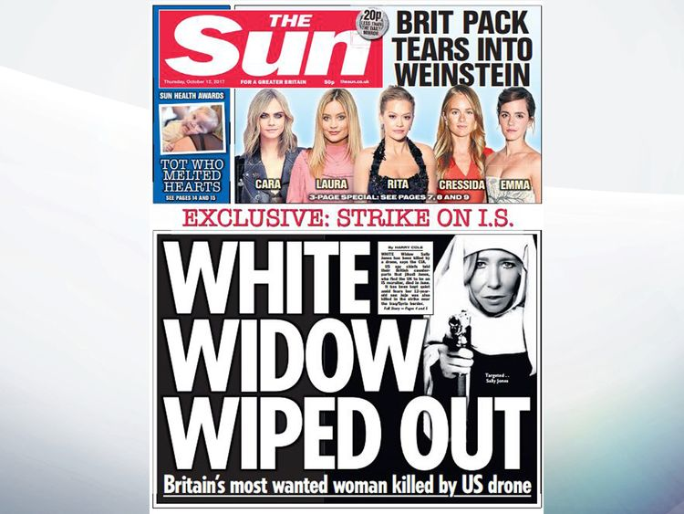 The Sun says Britain's most wanted woman, Sally Jones, has been killed in a drone strike