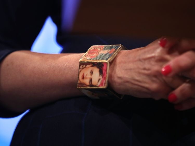 Theresa May wears a Frida Kahlo bracelet as she delivers her speech on the last day of the Conservative conference