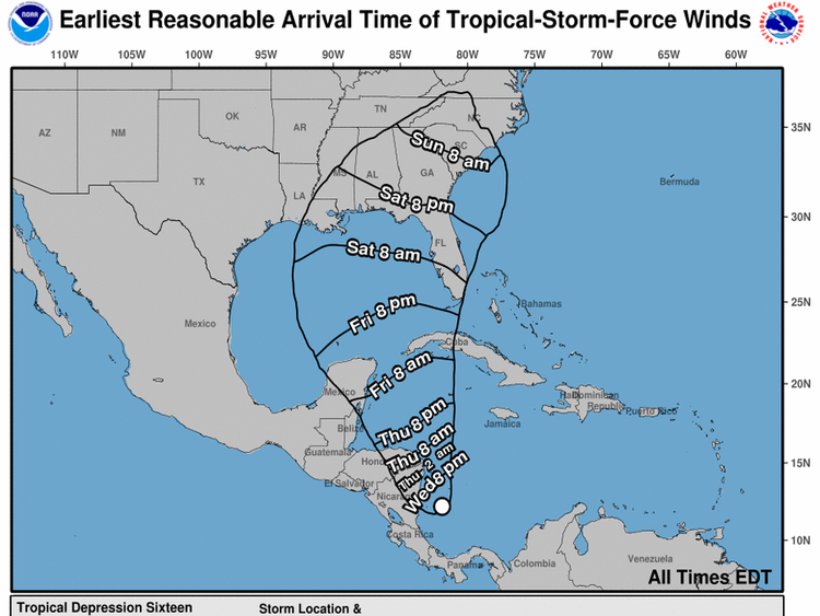 Estimated arrival times for tropical storm-force winds