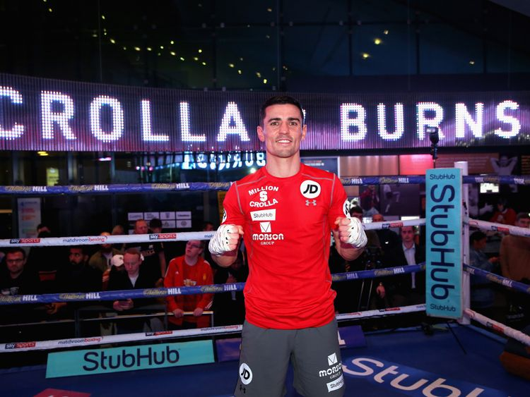 Anthony Crolla poses after a training session ahead of his fight against Ricky Burns during a media work out