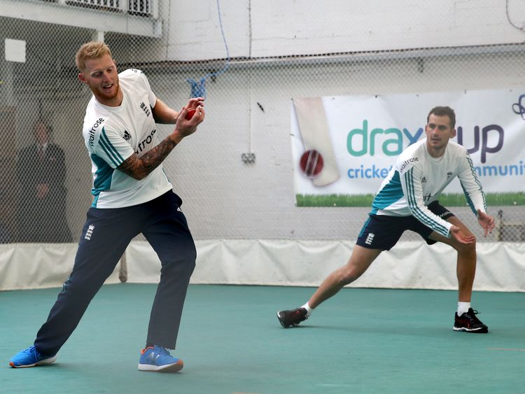 England's Ben Stokes (left) and Alex Hales during an indoor nets session