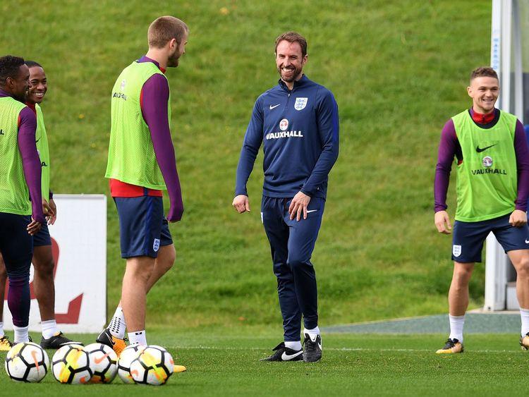 Manager Gareth Southgate leads England training