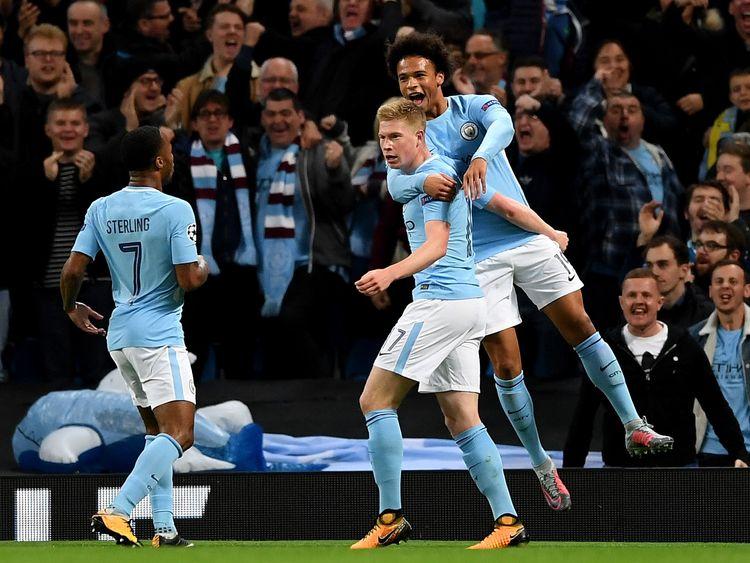 Man City celebrates Sterling's opening goal