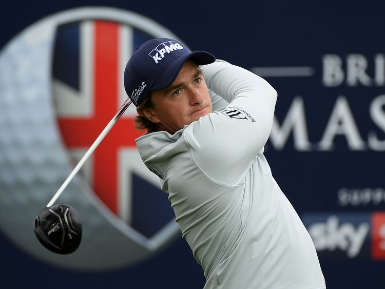 NEWCASTLE UPON TYNE, ENGLAND - OCTOBER 01:  Paul Dunne of Ireland hits his tee shot on the 1st hole during day four of the British Masters at Close House G