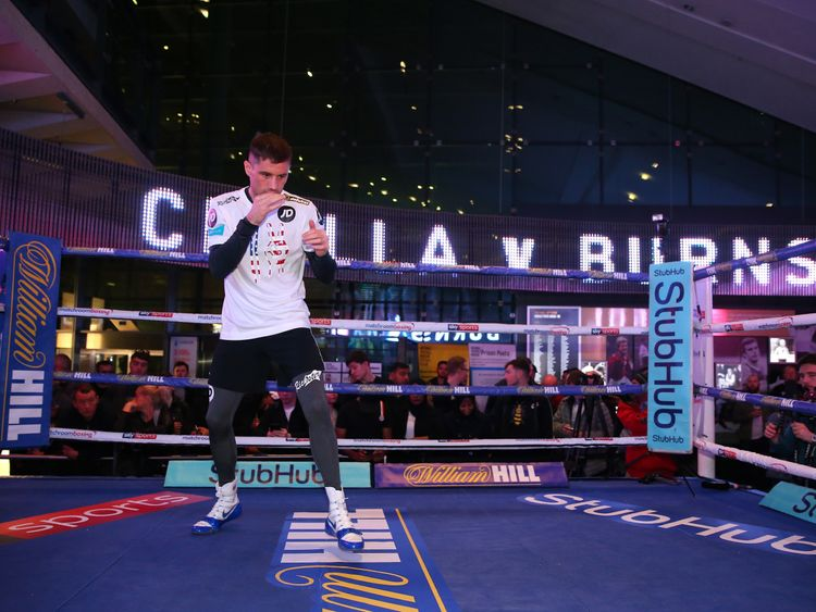 Ricky Burns trains ahead of his fight against Anthony Crolla during a media work out at the National Football Museum