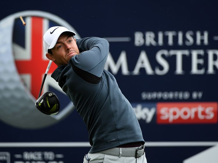 Rory McIlroy of Northern Ireland hits his tee shot on the 1st hole during day four of the British Masters