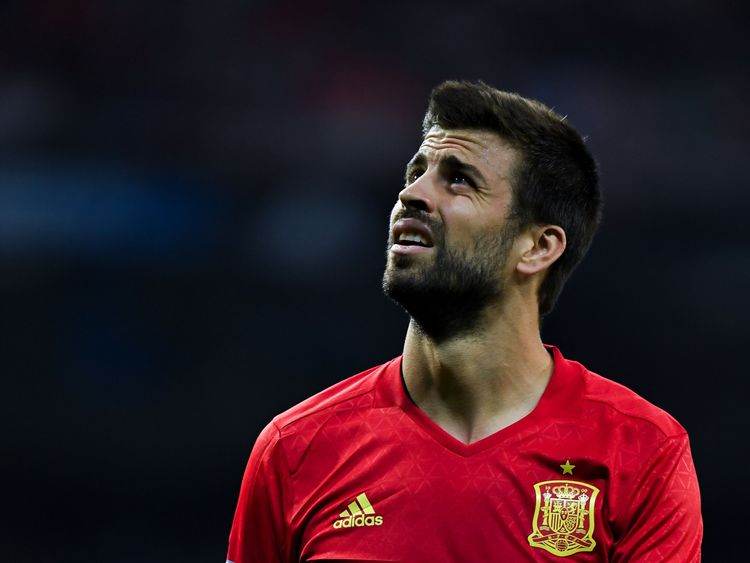 Gerard Pique in action for Spain