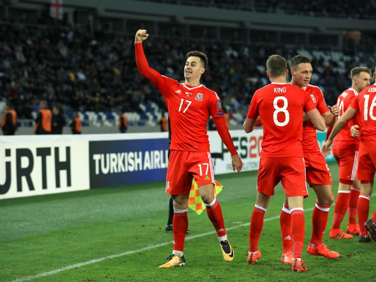 Wales' Tom Lawrence celebrates scoring his side's first goal of the game during the 2018 FIFA World Cup Qualifying, Group D match against Georgia