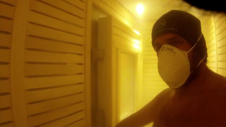 Inside Sarries' cryotherapy chamber