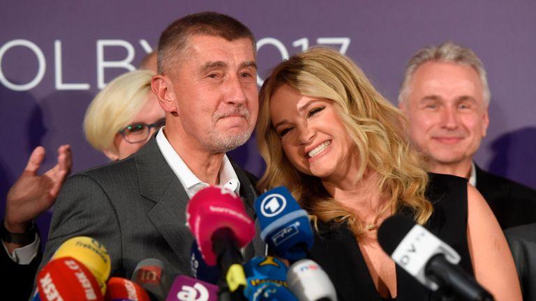 Andrej Babis celebrates with his wife Monika