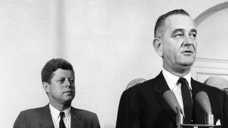 President Kennedy and his Vice President Lyndon Johnson in August 1961