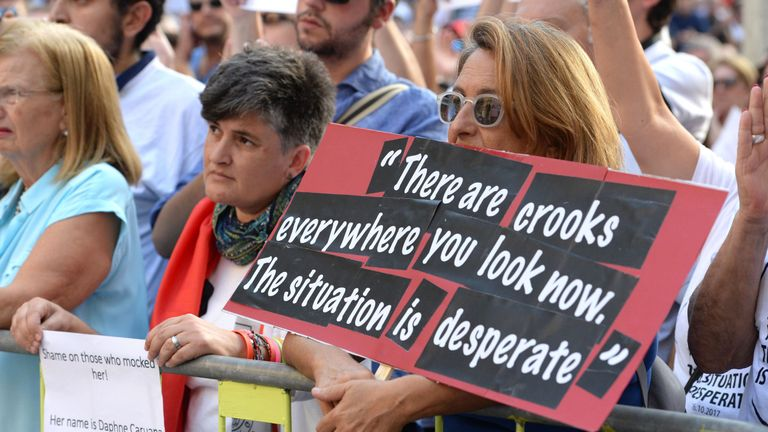 A protest in the wake of the killing of investigative journalist Daphne Caruana Galizia in Malta