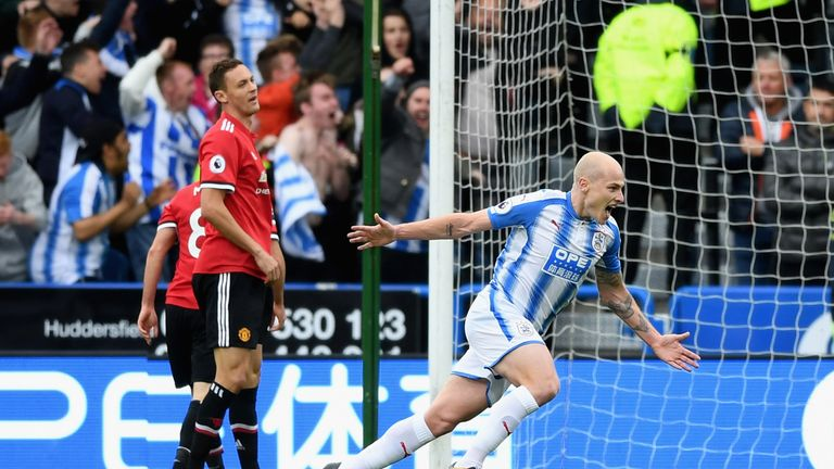 Aaron Mooy putting Huddersfield in front against Man Utd at the weekend