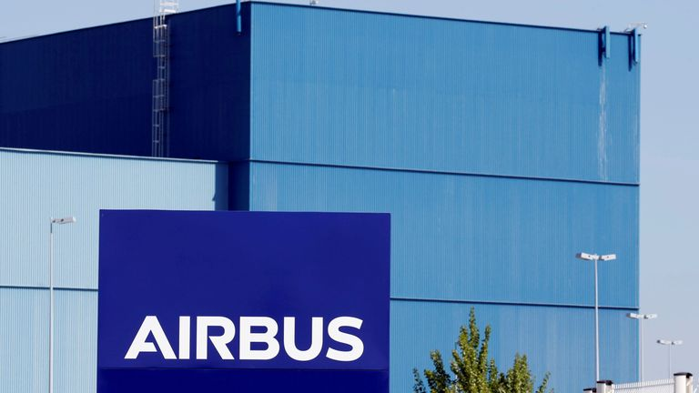 FILE PHOTO: The logo of Airbus Group is seen on the company's headquarters building in Toulouse, Southwestern France, April 18, 2017.